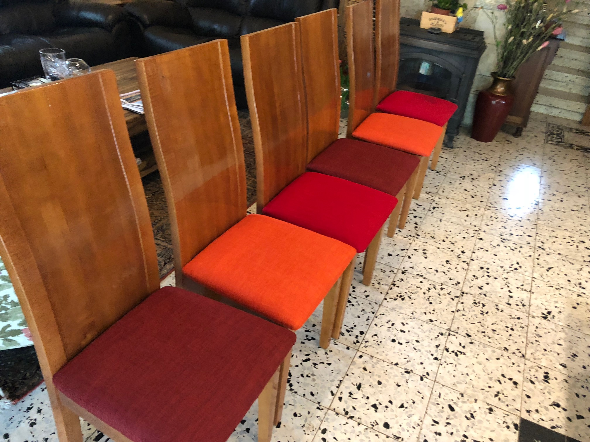 Reupholstered Red Dining Chairs